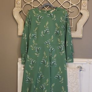 Long sleeve green floral loft dress